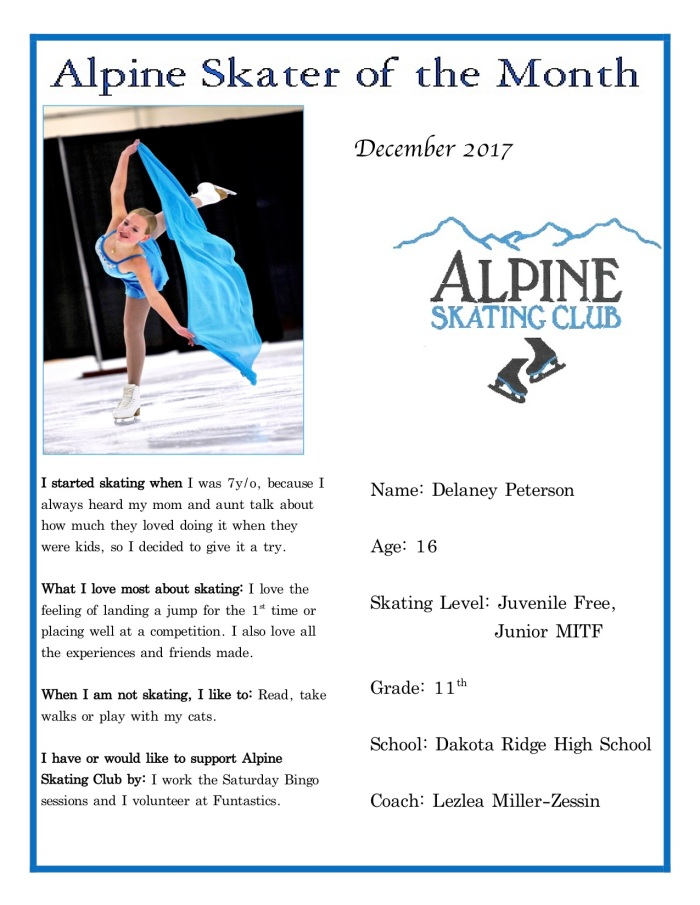 Alpine Skater of the Month:Delaney