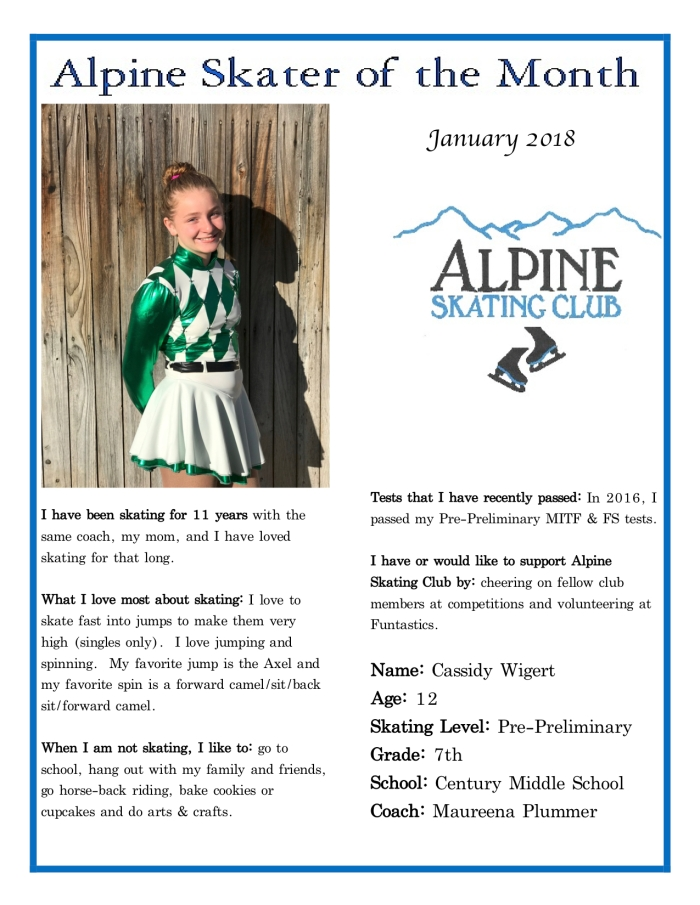 Alpine Skater of the Month:Cassidy